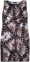 Ladies New Print Sleeveless Midi Womens Stretch Summer Dress Brown UK S/M M/L