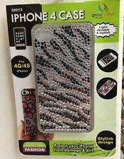 iPhone 4,4s,4g Case Zebra Print W/fiber Cloth And Film New