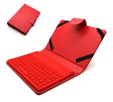 Universal Tasche Case mit Bluetooth Tastatur für 7 - 8 Zoll Tablet PC | Rot
