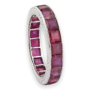 .Vintage Tiffany & Co Platinum & 7.00ct Ruby Full Circle Ring Size K Val $18800