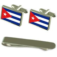 Cuba Flag Silver Cufflinks Tie Clip Engraved Gift Set