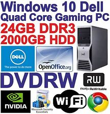Windows 10 DELL Quad Core Gaming Tower PC Computer - 24GB DDR3 - 2000GB HDD HDMI