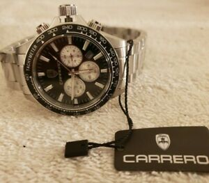 New CARRERO CS866BKSV Chronograph 44mm Stainless Men's 10 ATM Watch MSRP $1249