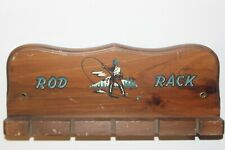 Vintage 70s Cornwall Fishing Rod Wall Rack Wood Pole Holder Fly Cabin Beach Lake