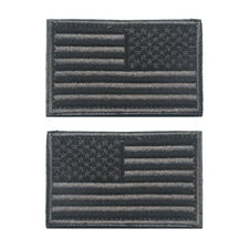 USA US AMERICAN FLAG REVERSE LEFT RIGHT ARMY SHOULDER ACU GRAY HOOK 2 PATCHES