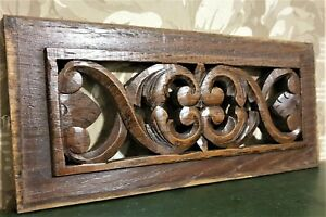 Country pierced carving pediment Antique french with scroll salvaged panel trim