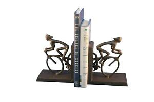 Bicycle Racing Bookends - Metal - Cast Iron Sculpture - Abstract Art