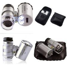 60x Handheld Mini Pocket Microscope Loupe Jeweler Magnifier LED Light With Bag