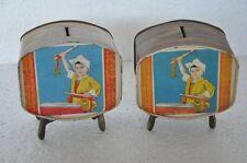 2 Pc Vintage Unique Tv Shape Litho Tin Coin / Safety Boxes , Collectible
