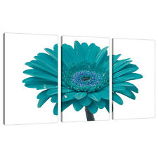 Set of Three Teal Canvas Art Wall Pictures Living Bed Room Prints 3114