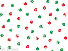 """50 Christmas Paws Cat Dog Paw Print Cellophane Candy Gift Treat Cello Bags 5x11"""""""