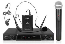 NEW Pyle PDWM2115 VHF Wireless Microphone W/ Handheld, Headset & Lavalier MIC's