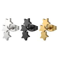 Fashion Women Stainless Steel Stars Ear Stud Clip Earrings Piercing Jewelry