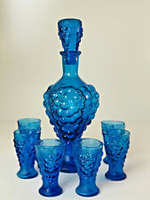 Vintage Cobalt Blue Glass 8 Pc Liquor Decanter & 6 Glasses Raised Grapes Design