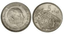 ESPAÑA 5 Pesetas FRANCO 1957 estrella 67 S/C de cartucho (año 1967)