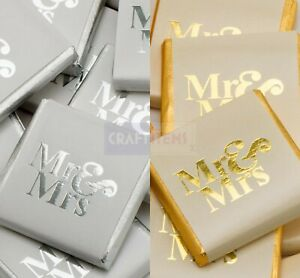 Wedding Chocolate Favours Neapolitans Mr & Mrs Foil Wrapped Sweets Table Party