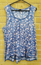 Women's TU Blue and Pink Paisley Top Size 16 Cotton High Low Summer