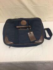 Rugged Traveler Blue & Brown Leather Lap Top Bag Case Shoulder Strap Canvas Vtg