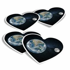 4x Heart Stickers - Earth & Moon Planet Space Globe  #21483
