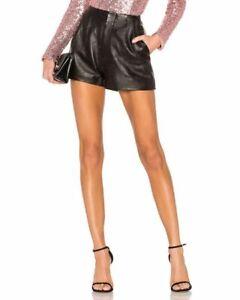 "$228 NBD The Blase Genuine Black Leather Pleated Mini Shorts Skirt XS Small 28"""