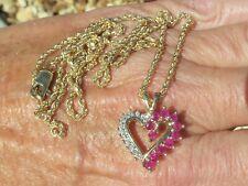 "VINT 10k Yellow GOLD 1.22tcw RUBY & DIAMOND Heart PENDANT w/ 2mm 22"" CHAIN 8.1g"