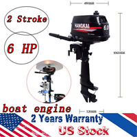 2 Stroke 6HP Outboard Motor 102CC Boat Engine Water Cooled Tiller Control CDI US
