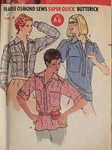 Lovely VTG 70s BUTTERICK 6273 Misses Shirts PATTERN P-S-M/6-8-10-12-14 UC