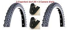 "2 Copertoni Nero 20x1,90 Deestone + Camere d'aria per Bici 20"" MTB Mountain Bike"