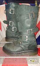Jara*Dr Doc Martens Buckle & Stud Biker Boots*Slouch*Grunge*Festival*Studded*UK3