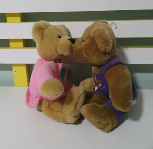Vintage Hallmark Kiss Kiss Magnetic Nose Stuffed Plush Teddy Bears Purple Pink