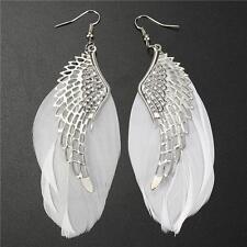 Women Girls Pure White Angel Wing Feather Dangle Earring Drop Earrings Eardrop
