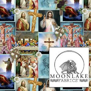 Jesus & religious icons, Repeat 100% Quality Cotton Poplin Fabric * Exclusive *