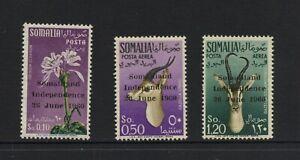 F874 Somalie 1960 First Édition - Surimprimées Faune Flore 3v. Mlh