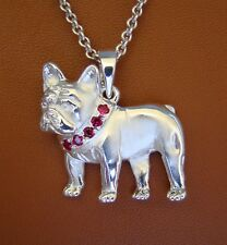 Large Sterling Silver French Bulldog Standing Study Pendant