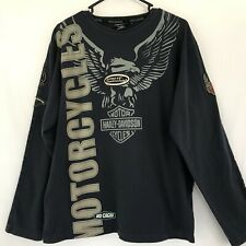 Harley Davidson Motorcycle Black  Gray No Cages Patch Eagle Size L