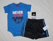 NEW~ADIDAS 2-PIECE SET BLUE BLACK ROMPER AND SHORTS SIZE 6 MONTHS
