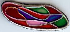 Enamel Swirly Modernist Pin Or Pendant Israel Vintage Red Pink Blue Green Silver