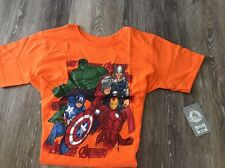 Marvel Avengers Assemble Boy's L 10/12 T-Shirt Orange Tee Thor Iron Man Hulk