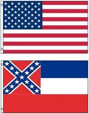NEW 3'x5' MISSISSIPPI State Flag & AMERICAN Flag Polyester (Premium)