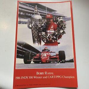 "Vtg. Budweiser Bobby Rahal 1986 Indy 500 Winner CART/PPG Champion Card 9"" by 6"""
