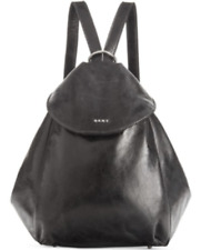DKNY NWT $328 Black Glazed Leather Transformer Backpack Large Shoulder Bag Zip
