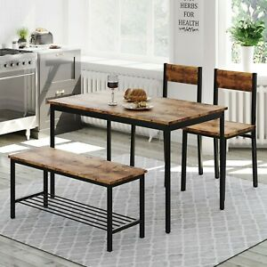 4 Pieces Dining Table and 2 Chairs and 1 Bench Set, Modern Kitchen Furniture