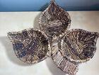 Vintage 3 Leaf Hand Woven Rattan Wicker Wall Hanging Boho Dcor