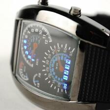 Men's Popular Blue Light Aviation Speedometer LED Wrist Watch Black New