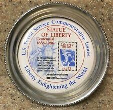 Us Postal Service Commemorative Issue Statue Liberty Centennial Pewter Coaster
