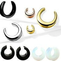 PAIR Saddle Ear Spreader Stone or Steel Tunnels Plugs Earlet Gauges flesh tunnel