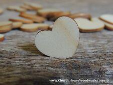 "100 qty 1"" Blank Light Wood Hearts Table Confetti Wooden Wedding Heart Shape"