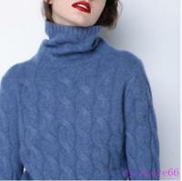 Women's Cashmere Pullover Winter Warm Sweater Long Sleeve Loose Tops Turtleneck