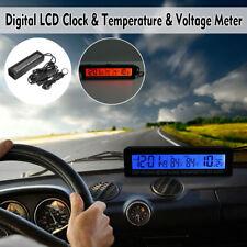 Digital Auto KFZ 12/24V Innen/Außen Thermometer Spannungsmesser Uhr LCD 95*15mm