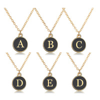 Gold Initial Letter Alphabet Black Charm Chain Friendship Bridesmaid Necklace UK